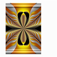 Fractal Yellow Butterfly In 3d Glass Frame Small Garden Flag (two Sides) by Simbadda