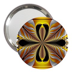 Fractal Yellow Butterfly In 3d Glass Frame 3  Handbag Mirrors by Simbadda