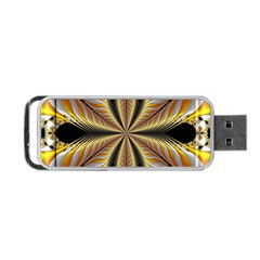 Fractal Yellow Butterfly In 3d Glass Frame Portable Usb Flash (two Sides) by Simbadda