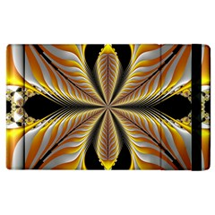 Fractal Yellow Butterfly In 3d Glass Frame Apple Ipad 2 Flip Case by Simbadda