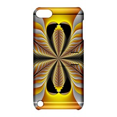 Fractal Yellow Butterfly In 3d Glass Frame Apple Ipod Touch 5 Hardshell Case With Stand by Simbadda