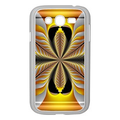 Fractal Yellow Butterfly In 3d Glass Frame Samsung Galaxy Grand Duos I9082 Case (white) by Simbadda