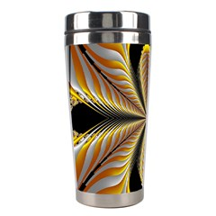 Fractal Yellow Butterfly In 3d Glass Frame Stainless Steel Travel Tumblers by Simbadda