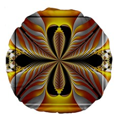 Fractal Yellow Butterfly In 3d Glass Frame Large 18  Premium Flano Round Cushions by Simbadda