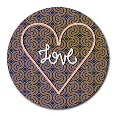 I Love You Love Background Round Mousepads by Simbadda