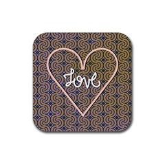 I Love You Love Background Rubber Square Coaster (4 Pack)  by Simbadda