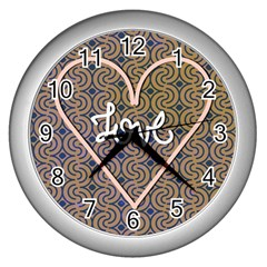 I Love You Love Background Wall Clocks (silver)  by Simbadda