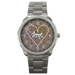 I Love You Love Background Sport Metal Watch by Simbadda