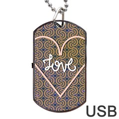 I Love You Love Background Dog Tag Usb Flash (two Sides) by Simbadda