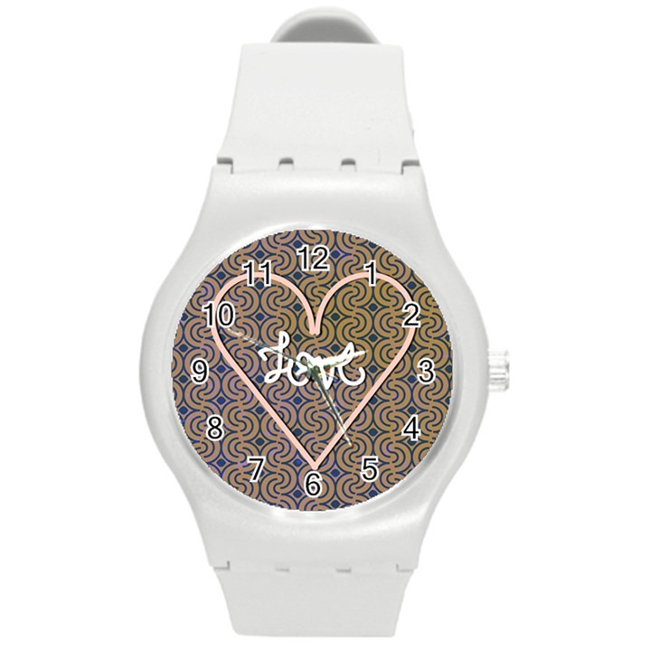 I Love You Love Background Round Plastic Sport Watch (M)