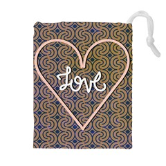 I Love You Love Background Drawstring Pouches (extra Large) by Simbadda