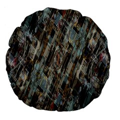 Abstract Chinese Background Created From Building Kaleidoscope Large 18  Premium Flano Round Cushions by Simbadda