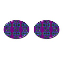 Purple Seamless Pattern Digital Computer Graphic Fractal Wallpaper Cufflinks (oval) by Simbadda