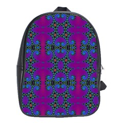Purple Seamless Pattern Digital Computer Graphic Fractal Wallpaper School Bags(large)  by Simbadda