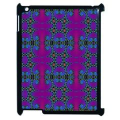 Purple Seamless Pattern Digital Computer Graphic Fractal Wallpaper Apple Ipad 2 Case (black) by Simbadda