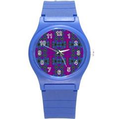 Purple Seamless Pattern Digital Computer Graphic Fractal Wallpaper Round Plastic Sport Watch (s) by Simbadda