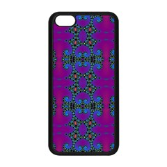 Purple Seamless Pattern Digital Computer Graphic Fractal Wallpaper Apple Iphone 5c Seamless Case (black) by Simbadda