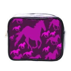 Pink Horses Horse Animals Pattern Colorful Colors Mini Toiletries Bags by Simbadda