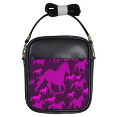 Pink Horses Horse Animals Pattern Colorful Colors Girls Sling Bags by Simbadda