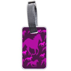 Pink Horses Horse Animals Pattern Colorful Colors Luggage Tags (one Side)  by Simbadda
