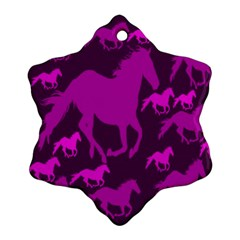 Pink Horses Horse Animals Pattern Colorful Colors Ornament (snowflake) by Simbadda