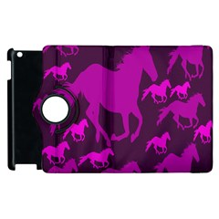 Pink Horses Horse Animals Pattern Colorful Colors Apple Ipad 2 Flip 360 Case by Simbadda