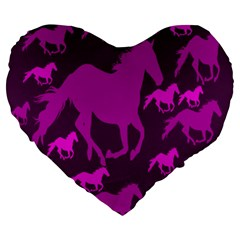 Pink Horses Horse Animals Pattern Colorful Colors Large 19  Premium Heart Shape Cushions by Simbadda