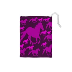 Pink Horses Horse Animals Pattern Colorful Colors Drawstring Pouches (small)