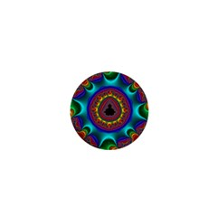 3d Glass Frame With Kaleidoscopic Color Fractal Imag 1  Mini Buttons by Simbadda