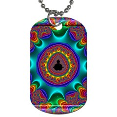 3d Glass Frame With Kaleidoscopic Color Fractal Imag Dog Tag (one Side) by Simbadda
