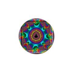 3d Glass Frame With Kaleidoscopic Color Fractal Imag Golf Ball Marker by Simbadda