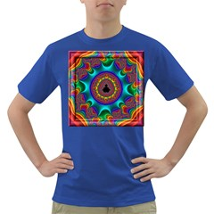 3d Glass Frame With Kaleidoscopic Color Fractal Imag Dark T Shirt