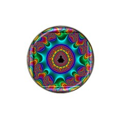 3d Glass Frame With Kaleidoscopic Color Fractal Imag Hat Clip Ball Marker by Simbadda