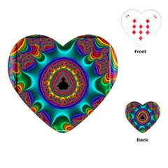 3d Glass Frame With Kaleidoscopic Color Fractal Imag Playing Cards (heart)  by Simbadda