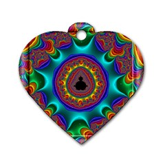 3d Glass Frame With Kaleidoscopic Color Fractal Imag Dog Tag Heart (one Side) by Simbadda