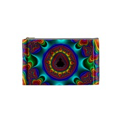 3d Glass Frame With Kaleidoscopic Color Fractal Imag Cosmetic Bag (small)  by Simbadda