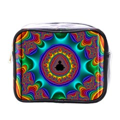 3d Glass Frame With Kaleidoscopic Color Fractal Imag Mini Toiletries Bags by Simbadda