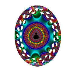 3d Glass Frame With Kaleidoscopic Color Fractal Imag Ornament (oval Filigree) by Simbadda