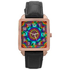 3d Glass Frame With Kaleidoscopic Color Fractal Imag Rose Gold Leather Watch  by Simbadda