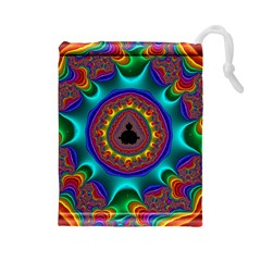 3d Glass Frame With Kaleidoscopic Color Fractal Imag Drawstring Pouches (large)  by Simbadda