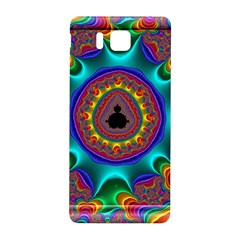 3d Glass Frame With Kaleidoscopic Color Fractal Imag Samsung Galaxy Alpha Hardshell Back Case by Simbadda