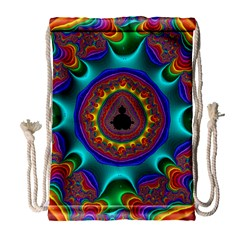 3d Glass Frame With Kaleidoscopic Color Fractal Imag Drawstring Bag (large) by Simbadda