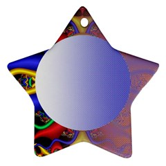 Texture Circle Fractal Frame Ornament (star) by Simbadda