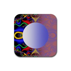 Texture Circle Fractal Frame Rubber Square Coaster (4 Pack)  by Simbadda