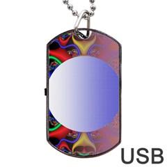 Texture Circle Fractal Frame Dog Tag USB Flash (Two Sides) by Simbadda