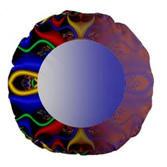Texture Circle Fractal Frame Large 18  Premium Flano Round Cushions by Simbadda