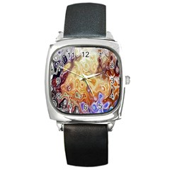 Space Abstraction Background Digital Computer Graphic Square Metal Watch by Simbadda