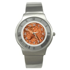 3d Glass Frame With Fractal Background Stainless Steel Watch by Simbadda