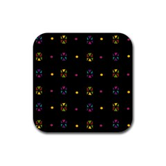 Abstract A Colorful Modern Illustration Black Background Rubber Square Coaster (4 Pack)  by Simbadda