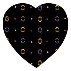 Abstract A Colorful Modern Illustration Black Background Jigsaw Puzzle (heart) by Simbadda